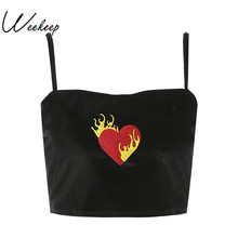 Weekeep 2017 Summer Women Fashion Flaming Heart Printed Velvet Cropped Camisole Ladies Sexy Black Crop Top Street Bralet Top(China)