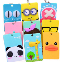 PVC Badge Holder Accessories ID Card Holder Lovely 3D Cartoon Credit Card Bus Door Card Case Cute Key Holder For Men & Women
