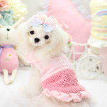 Winter Dog 100% Cotton Skirt Pink Blue Color Warm Teddy Winter Dress Cute Collar Autumn Pet Dress Fashion Dog Skirts Clothes(China)