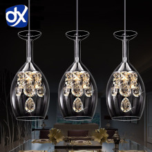 Modern Pendant Chandelier 1/2/3 Head Optional LED Crystal Pendant Lamp Three Head Disc Tray and Rectangular Plate Optional