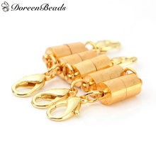 DoreenBeads Brass Magnetic Clasps For Jewelry Necklace Bracelet Cylinder gold color With Alloy Lobster Clasp 38mm x 9mm,4 PCs(China)