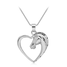 Hollow Heart Horse Pendant Necklace Silver plated Horse in Heart Necklace Christmas Birthday Gift(China)