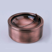Newest Design Stainless Steel Windproof Round Shape Large Smokeless Ashtray with lids(China)