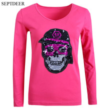 SEPTDEER High Street Fashion Women Tops Skull Change Color Sequin Cotton Plus Size V Neck Full Sleeves T Shirts S-6XL LP53113