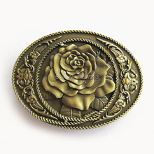 Distribute Belt Buckle Vintage Bronze Rose Western Oval Belt Buckle Free Shipping 6pcs Per Lot Mix Style is Ok
