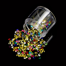 1 Box Colorful Sharp Bottom Nail Rhinestones 3D UV Gel Polish Decoration 3mm 3.5mm Mixed-size DIY Manicure Nail Jewelry