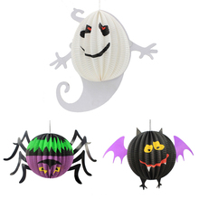 3D Halloween Lanterns Spherical Whimsy Spider Ghost Bat Design Hallowmas Paper Lantern Halloween Party Hanging Ornaments Props
