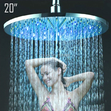 Retail - 20 Inch Stainless Steel Led Over Shower Head, Color Changed without Battery, Free Shipping X15410