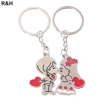 Romantic Couple Love Keychain Cartoon Key chain Lovers Key ring Women Wedding Jewelry Accessory Valentines Gift