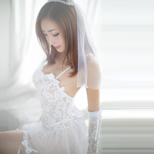 Porn Erotic Lingerie For Women Cosplay White Bride Wedding Dress Uniform Sexy Lingerie Hot Temptation Sexy Costumes Underwear(China)