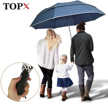 TOPX Large Umbrella For Men Rain Women 2Folding Quality Windproof Golf Umbrella Male Double Business Car Outdoor Parasol(China)