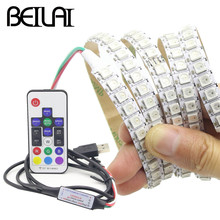 BEILAI 1M 2M WS2812B LED Strip Waterproof 30 60 144LEDs DC 5V RGB LED Light Dream Color Flexible Strips WS2812 IC With RF 17Key