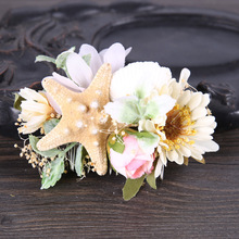 Bride Seashell Starfish Lace Flower Headband Tiaras Wedding Hair Comb Jewelry Accessories Coroa De Noiva Acessorio Para Cabelo(China)