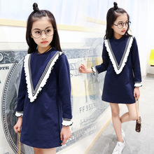 autumn dress for girls fall clothes 2017 long sleeve navy blue teenage clothing 120~160 age 11 12 years old new arrivals(China)
