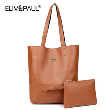 ELIM&PAUL Women Bucket PU leather shoulder bags with Clutches Fashiom Patchwork Leather Bags Famous Brand Designer Handbags Tote(China)