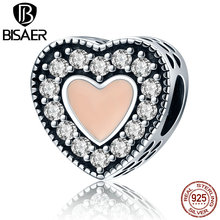 BISAER Trendy 925 Sterling Silver Romantic Heart Charms Orange Enamel Beads Fit Original Pandora Charm Bracelets Jewelry ECC151