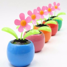 Hot sale Dancing Solar Power Flip Flap Flower For Car Ornament Flower Toy Gift ornaments Colorful