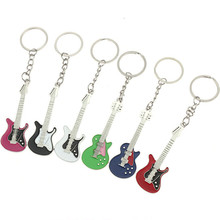 Guitar key chain small gift given more color choice for metal factory custom direct selling wholesale accessories 30pcs/lot