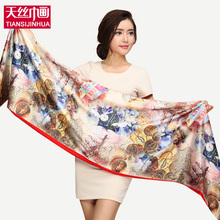 175*45cm Floral Flower Pashmina Fashion Satin Painting Silk Scarf Women luxury Brand Winter Warm Soft Fringe Tassel Shawl Wrap