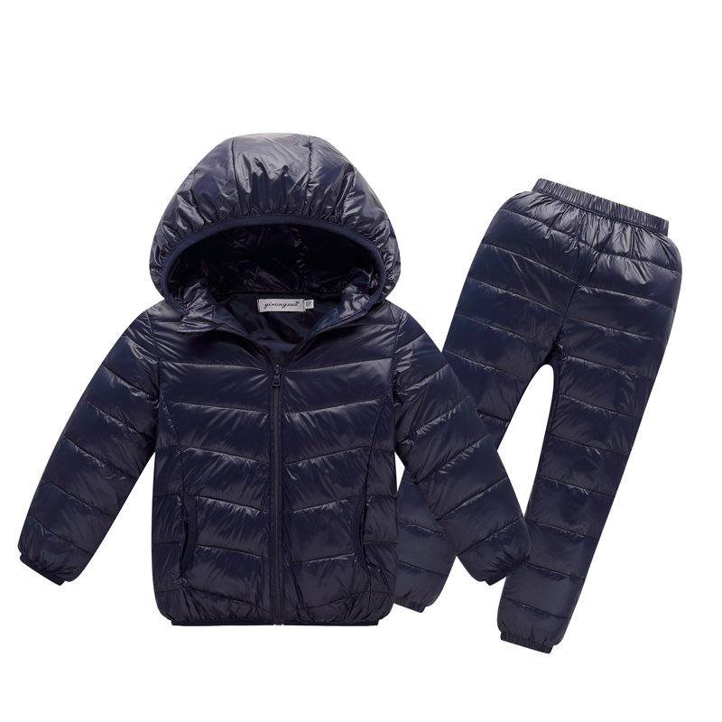 Kids winter clothing sets for 3-10Y boys and girls hooded 90% white duck down coat+trousers snow warm children Clothes suits<br>