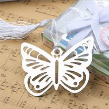 200pcs Practical Reading Essential Metal Butterfly Bookmark With Tassels Boxed Picture Color
