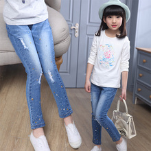 HOT SALE 2017 Big Girls Clothes Female Leggings Autumn Mid elastic Diamond Ornament Jeans Children Long Denim Pencil Trousers