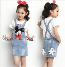 2016 Summer Baby Girl Denim Suspender Dresses Mickey Minnie Jeans Dresses Kids Girl Overalls Children' Clothing Wear(China)