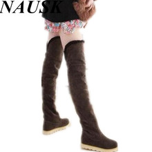 2016 New Winter fashion explosion models snow boots knee boots knee boots heavy-bottomed shoes female boots in tube