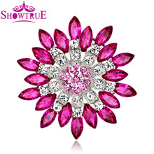 New Fashion Super Large Crystal Flower Brooches Pins Vintage Brooch Bouquet For Women Cheap Fashion Jewelry Clothes Accessories