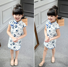 Chinese Classical Trandition Style Girl Dress Cotton Long Sleeve Cheongsam for Kids Baby Girls Qipao Spring Autumn Girls Clothes