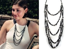 Wing Yuk Tak Trendy Glass Bead Multilayer Shiny Black Link Chain Necklace For Women Fashion Jewelry Factory Wholesale