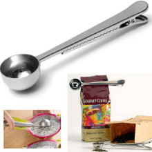 Cooking Tool Stainless Steel 1 Cup Ground Coffee Measuring Scoop Spoon With Bag Sealing Clip