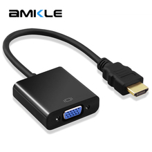 Amkle HDMI to VGA Adapter Cable HDMI to VGA Converter Adapter Support 1080P with Audio Cable for HDTV XBOX PS3 PS4 Laptop TV Box(China)