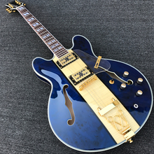 Custom Semi Hollow Body Jazz Electric Guitar, Archtop Guitar, Flamed Maple+Blue Spalted Maple Top, Gold Hardware, Wholesale(China)