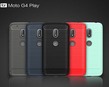 "For ( Motorola Moto G4 Play ) Cover Back For Fundas For Moto G4 Play 5.0"" Silicone Carbon Fiber Brushed TPU Mobile Phone Cases"
