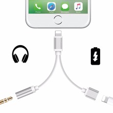 2 In 1 For Lightning To 3.5mm Earphone Headphone Audio Jack and Charger Adapter For Iphone 7 7 6s Plus Charge Connector Cable