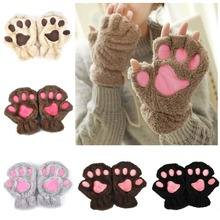 2015 Winter Women Cute Cat Paw Claw Plush Mittens Short Fingerless Finger Half Gloves