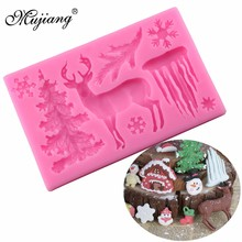 Mujiang Christmas Deer Silicone Mold Icicle Snowflake Chocolate Candy Molds Fondant Cake Decorating Tools Kitchen Baking Moulds(China)