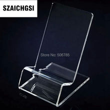 SZAICHGSI wholesale 500pcs Acrylic Cell phone mobile phone Display Stands Holder stand for 6inch iphone and samsung(China)