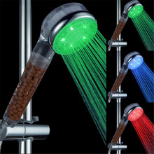 Temperature sensor 3 color Bathroom Spa Anion led lights shower head(China)