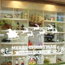 The New Shop Window Elk Christmas Deer Christmas Wall Sticker Christmas Decorations For Home Christmas Window Sticker