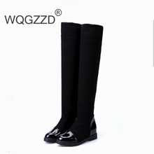 Slimming elastic cloth fashion boots women over the knee high boots autumn winter women stretch boots large size 35-41
