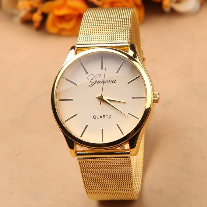 GENEVA Hours Clock Gold Full Stainless Steel Women Dress Watches  Quartz WatchMontre Femme Relogio Feminino Relojes Mujer<br><br>Aliexpress
