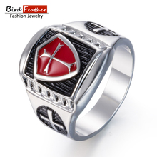 Buy Silver color Zinc Alloy Men Ring Cross Red glaze Hip Hop Rings Women Vintage Punk Fashion Jewelry 2018 New Arrival Hot Sale for $1.53 in AliExpress store