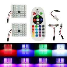 T10 5050 SMD 16 Colors RGB LED Panel Auto Car Interior Reading Map Lamp Bulb Light Dome Festoon Remote Controller Flash/Strobe(China)