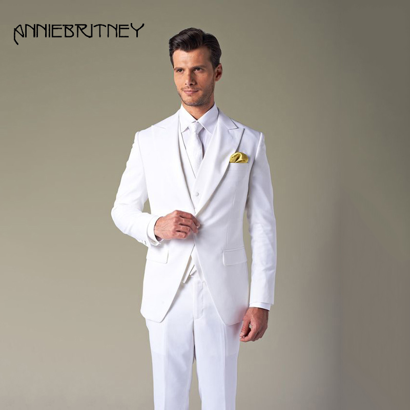 Summer 2018 White Mens Suits Wedding Peaked Lapel Groom Tuxedo Slim Fit Man Blazer Jacket Groomsmen Men's Classic Suits 3 Piece