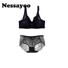 Buy Nessayoo Cute Ladies Underwear sets women sexy push lingerie transparent bra panty set lolita Japanese bra tong set 2017