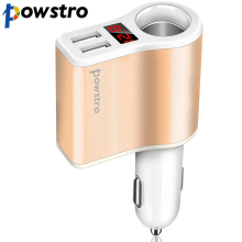 powstro 5V 2.1A Dual USB Charger + Cigarette Lighter Power Socket +Led display voltage, current and voltage for smartphone GPS(China)
