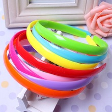 12mm 3pcs/lot Girls Hair Clasp for Kids Satin Covered Plastic Hairband Hair Accessories DIY Headwear