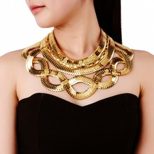 Large Jewelry Statement Gold Silver Snake Chain Bib Choker Punk Collar Pendant Fashion Necklace(China)